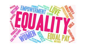 Equality Animated Word Cloud. On a white background stock illustration
