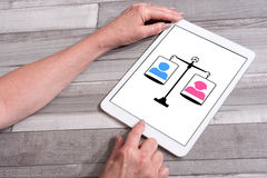 Equality concept on a tablet. Equality concept shown on a tablet used by a woman Royalty Free Stock Image