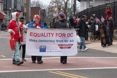 Equality for DC. Washington, DC - January 16, 2017: People holding signs advocate for statehood for the District of Columbia during the Martin Luther King, Jr stock image