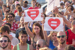 Equality event. Event on equal rights of homosexual couples and not in Genoa Stock Photography