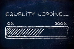 Equality loading, progess bar illustration. A better word: progress bar metaphorically loading more equality Stock Photography
