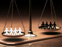 Equality Of Races. Scales of justice equaling races without prejudice or racism. Clipping path included Stock Photo