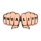 Equality tattoo. Feminism poster with female fists. Vector illustration  on white Royalty Free Stock Photos
