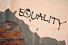 Equality. Text sprayed on the old wall, anarchist aesthetics stock photography