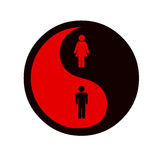Equality of woman and man. Yin and yang symbol on equality of gender Royalty Free Stock Photo