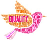 Equality Word Cloud. On a white background Royalty Free Stock Photos
