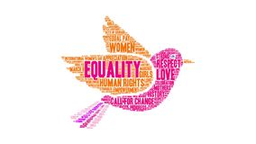 Equality Word Cloud. On a white background royalty free illustration