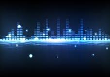 Equalizador azul de la música de la tecnología digital del fondo del extracto con ilustración del vector