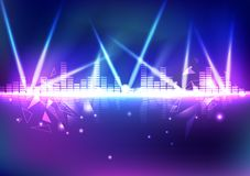 Equalizador, volume da música com o efeito da luz de néon do triângulo, digital ilustração stock