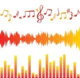 Equalizadores y notas de la música Foto de archivo