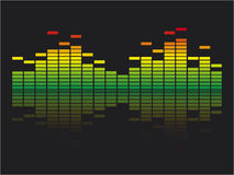 Equalizer. Red, yellow and green volume equalizer with reflection Stock Images