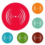 Equalizer abstract icons circle set. Isolated on white background Stock Illustration