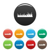 Equalizer audio icons set color vector. Equalizer audio icon. Simple illustration of equalizer audio vector icons set color isolated on white Stock Illustration