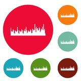 Equalizer audio icons circle set vector. Isolated on white background Vector Illustration