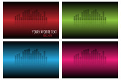 Equalizer backgrounds. Set of four equalizer backgrounds in three tone:red,green,blue and violet.Isolated on white backgrounds. Useful also as poster or royalty free illustration