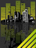 Equalizer city. Green black equalizer city illustration Royalty Free Stock Photography