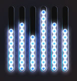 Equalizer glossy glowing track bar. Vector media player elements Royalty Free Stock Image