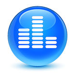 Equalizer icon glassy cyan blue round button Stock Photography