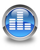Equalizer icon glossy blue round button Royalty Free Stock Images