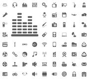 Equalizer icon. Media, Music and Communication vector illustration icon set. Set of universal icons. Set of 64 icons.  Royalty Free Stock Photography