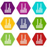 Equalizer icons set 9 vector. Equalizer icons 9 set coloful isolated on white for web Royalty Free Stock Image