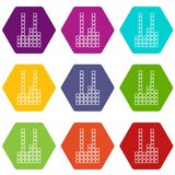 Equalizer icons set 9 vector. Equalizer icons 9 set coloful isolated on white for web Stock Images