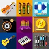 Equalizer icons set, flat style Stock Photography