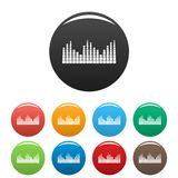 Equalizer level radio icons set color vector. Equalizer level radio icon. Simple illustration of equalizer level radio vector icons set color isolated on white Stock Photography