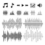 Equalizer, music, sound waves vector icons Royalty Free Stock Photos