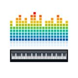 Equalizer and piano keyboard,  illustration Royalty Free Stock Photography