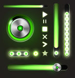 Equalizer and player metal buttons with track bar Stock Photos