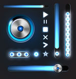 Equalizer and player metal buttons with track bar Stock Photography