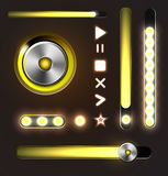Equalizer and player metal buttons with track bar Stock Images
