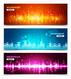 Equalizer sound waves display banners set. Audio equalizer sound wave display 3 horizontal banners set in vivid bright colors abstract  vector illustration Royalty Free Stock Images