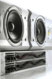 Equalizer and speakers. Graphic equalizer and speakers on white background Stock Image