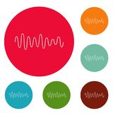 Equalizer wave sound icons circle set vector. Isolated on white background Stock Photos