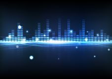Equalizzatore blu di musica di tecnologia digitale astratta del fondo con illustrazione vettoriale