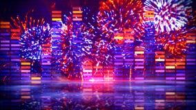 Equalizzatore di musica ed esposizione del fuoco d'artificio Fotografia Stock