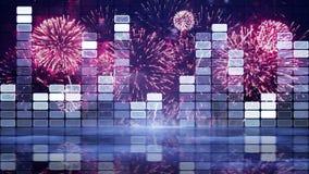 Equalizzatore e fuoco d'artificio di musica Fotografie Stock