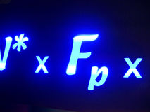 Equation. An illuminated mathematical equation Stock Photo
