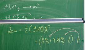 Equation on a chalkboard Stock Photography