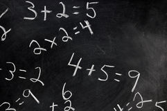 Equations on Chalkboard. Equations on black chalkboard with copy space stock image