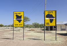 Equator crossing in Kenya. Famous signs when crossing the equator in Kenya Stock Image