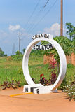 Equator crossing sign monument in Uganda. Eastern Africa Royalty Free Stock Images