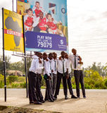 Equator Line. Students take a picture at Equator line in Kenya Stock Image