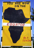Equator sign. Sign post for the equator in Kenya Africa Stock Photos