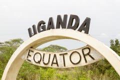 Equator sign in Uganda Stock Photo