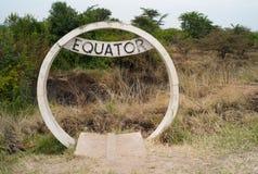 Equator Sign in Uganda. Round Concrete Marking of the Equator in Uganda stock images