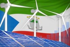 Equatoriaal-Guinea zonne en digitaal de grafiekconcept van de windenergie - moderne natuurlijke energie industriële illustratie 3 royalty-vrije illustratie
