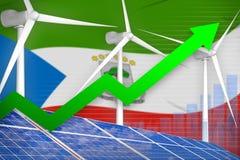 Equatoriaal-Guinea zonne en windenergie het toenemen grafiek, pijl omhoog - moderne natuurlijke energie industriële illustratie 3 vector illustratie